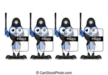 Bird riot policemen isolated on white background