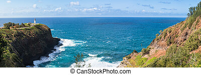 Bird sanctuary at Kilauea Lighthouse - Panorama of cliffs ...