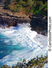 Bird Sanctuary on Kilauea Point - Waves rush in to the ...