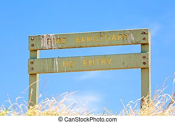 Bird sanctuary wooden sign - Bird sanctuary, no entry wooden...