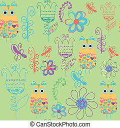 Bird seamless pattern and seamless pattern in swatch menu, vecto