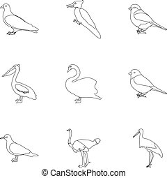 Bird set icons in outline style. Big collection of bird vector symbol stock illustration