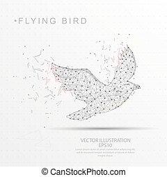 Bird shape digitally drawn low poly wire frame.