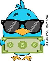 Bird Showing A Dollar Bill