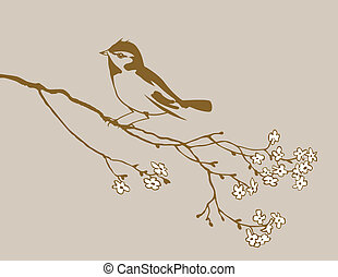 bird silhouette on brown background,