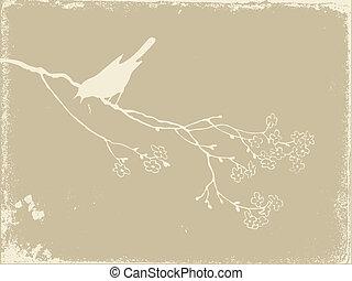 bird silhouette on old paper, vector illustration