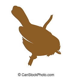 bird silhouette on white background, vector illustration