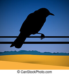 Bird Silhouette with Abstract Desert Scene on Background