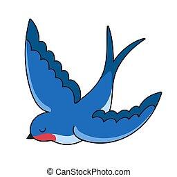 bird., simple, hirondelle, vecteur, illustration.