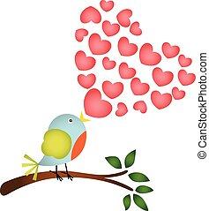 Bird singing a love heart song