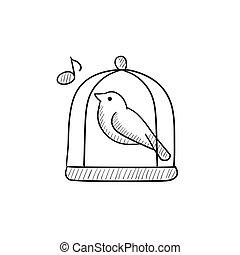 Bird singing in cage sketch icon.