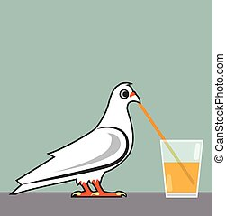 Bird sipping a drink