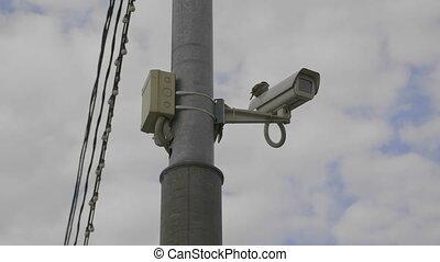 Bird sits on CCTV camera on high pillar. UltraHD stock footage.