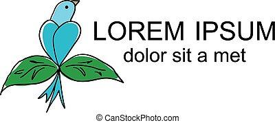 Bird Sitting abstract vector logo design template.