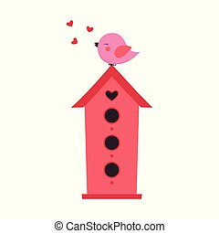 bird sitting at nest box