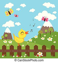 Bird sitting on a fence and singing in the countryside, green meadow, hills and flowers. Vector Illustration