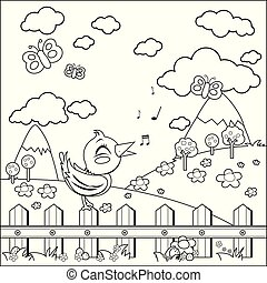 Bird sitting on a fence and singing in the countryside. Vector black and white coloring page.