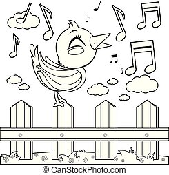 Bird sitting on a fence and singing. Vector black and white coloring page