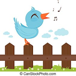 Bird sitting on a fence and singing. Vector illustration