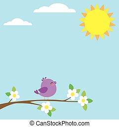 Bird sitting on blooming branch