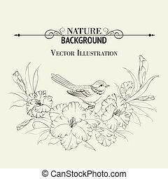 Bird sitting on iris flower. Vector illustration.