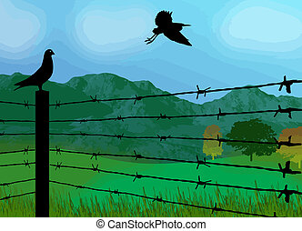 Bird sitting on prison fence on beautiful landscape, vector illustration