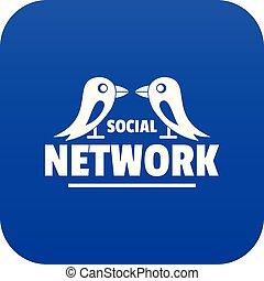 Bird social network icon blue vector