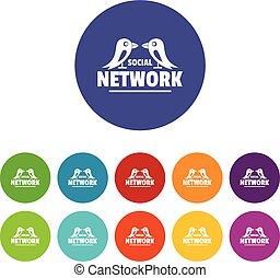 Bird social network icons set vector color