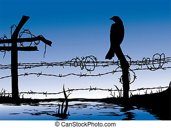 Bird standing on wire fence - computer generated artwork
