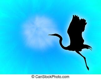 Bird - Heron silhouette flying in a blue sky