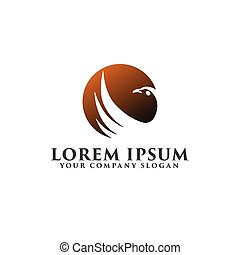 bird sun logo design concept template