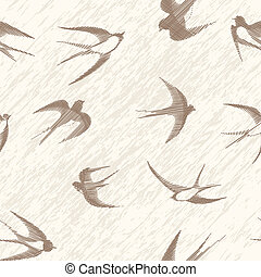 Bird swallow seamless vintage set. Vector illustration poses isolated on white.
