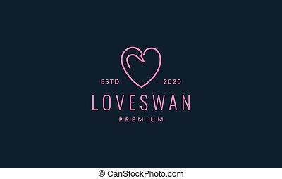 bird swan or goose head with love or heart line logo vector illustration design