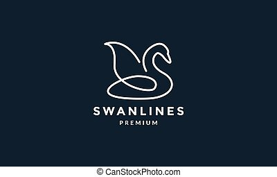 bird swan or goose line unique minimalist logo vector illustration design