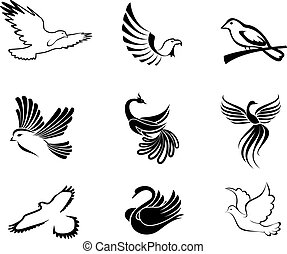 Set of bird symbols as a concept of peace