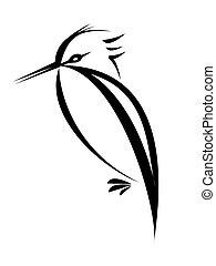 bird tattoo - bird silhouette isolated on white background