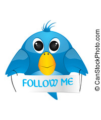 bird - The blue collor twitter and follow me text