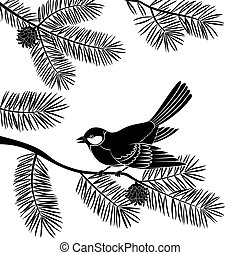 Bird Titmouse Sitting on Pine Tree Branch with Needles and Cones, Black Silhouette Isolated on White Background. Vector