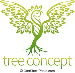 Bird Tree Concept - Bird tree concept of an icon of a tree...