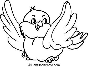 bird., vecteur, dessin animé