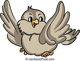 bird., vecteur, dessin animé, illustration.