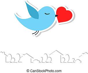 bird., vector, amor, illustration.