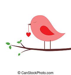 bird - pink bird with a heart on white background
