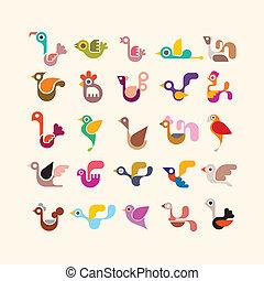 Bird vector icon set