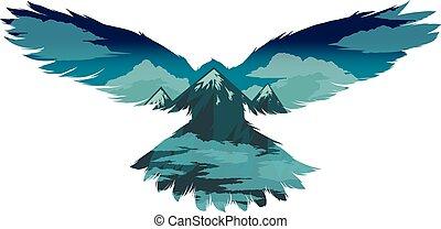 Bird vector illustration with double exposure effect. - Bird...