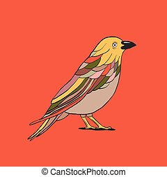 Bird, vector outline illustration, icon, red background