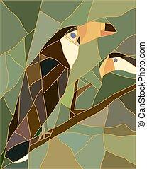 bird., verre, taché, réaliste, toucan, style.