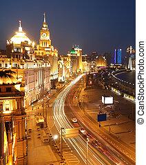 Bird view at Shanghai Bund European-style buildings of night...