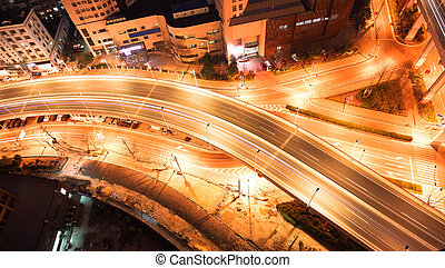 Bird view at Shanghai interchange viaduct bridge of night
