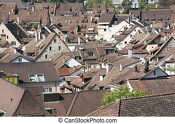 Swiss town Schaffhausen with cluste - Bird view of an old...